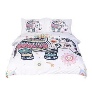 3 Pcs Rainbow Mandala Elephant Duvet Cover Set