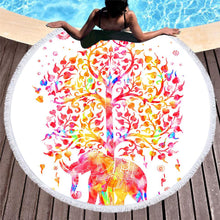Elephant Round Beach Towel Black and White Tassel