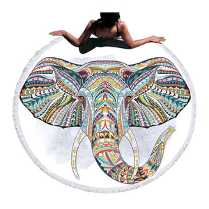 Boho Elephant Round Beach Towel