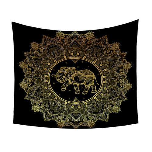 Gold Printed Indian Elephant Tapestry