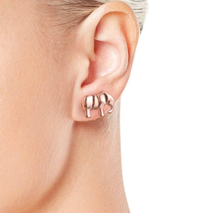 Rose Gold Plated Elephant Earrings