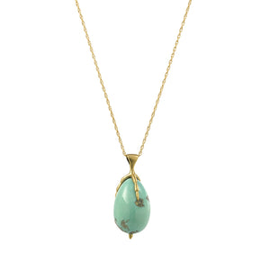 Turquoise Egg and Claw Necklace