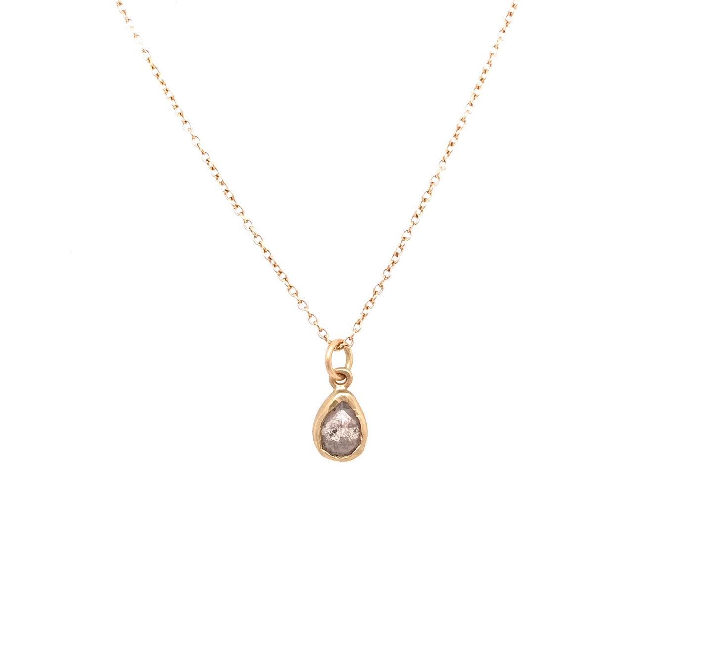 Rose Cut Salt + Pepper Diamond Pendant Necklace | Art + Soul Gallery