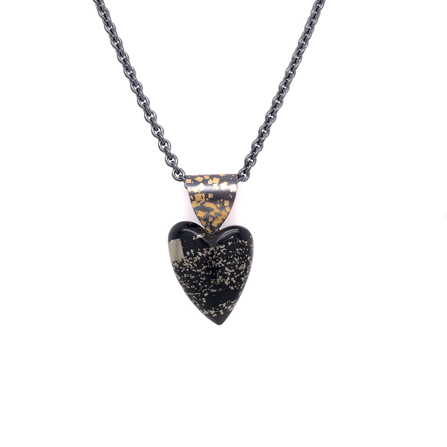 Slate Pyrite Heart Necklace | Art + Soul Gallery