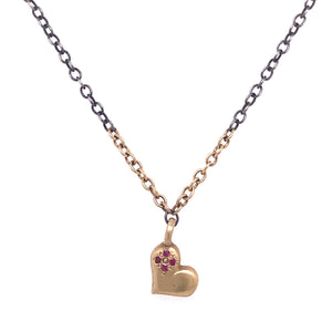 Ruby Four Stone Sweet Heart Necklace
