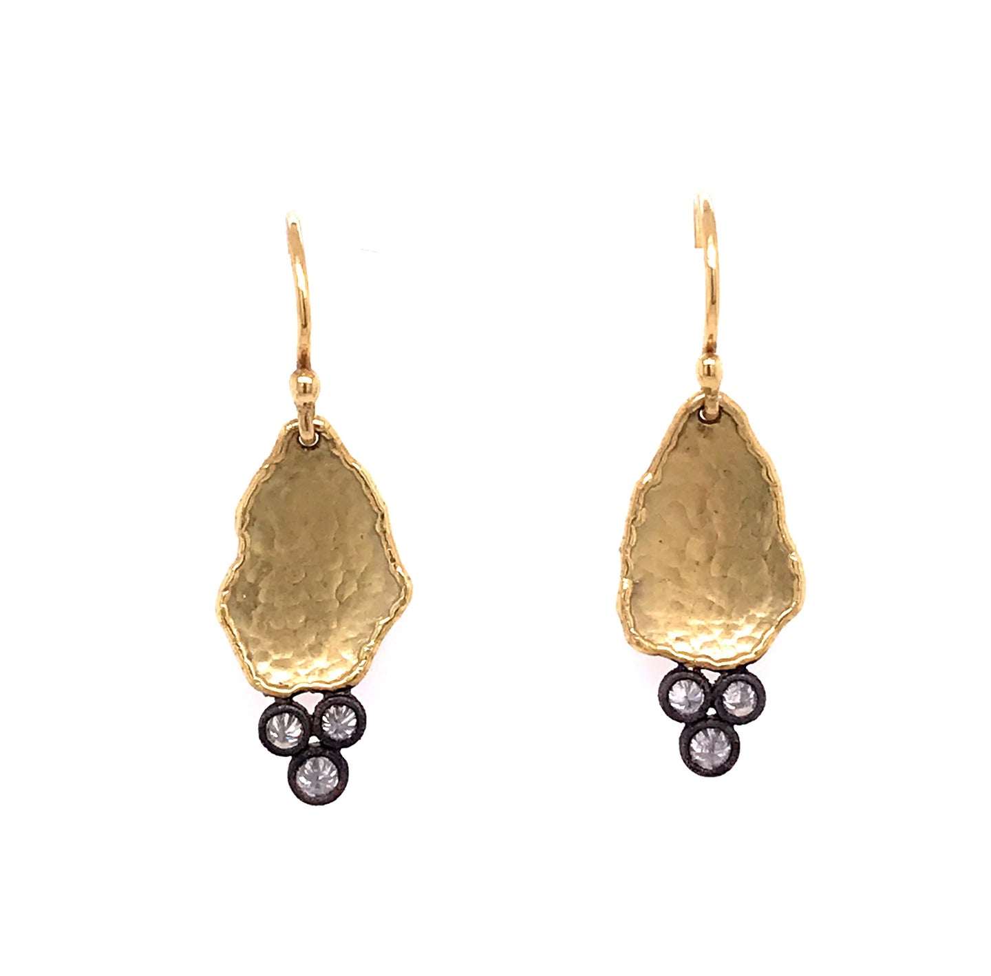 Hammered Gold Tear Drop Diamond Earrings