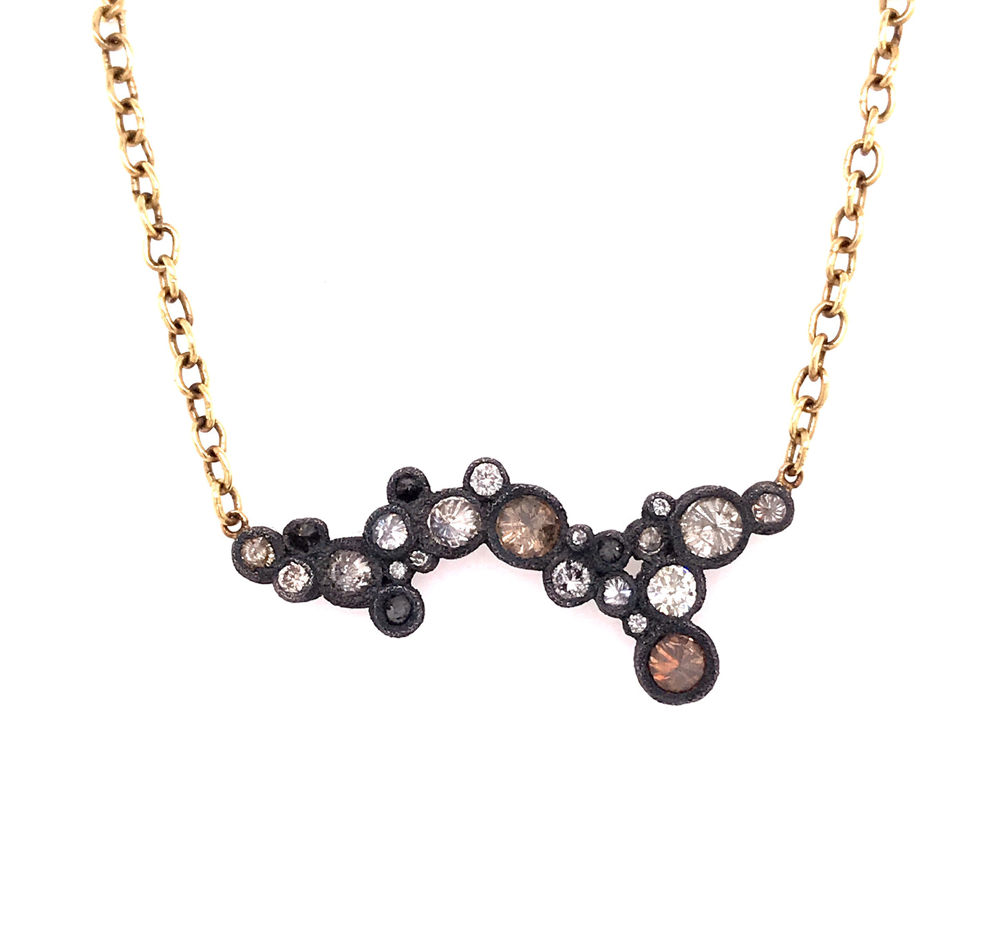Scattered Bezel Set Diamond Necklace