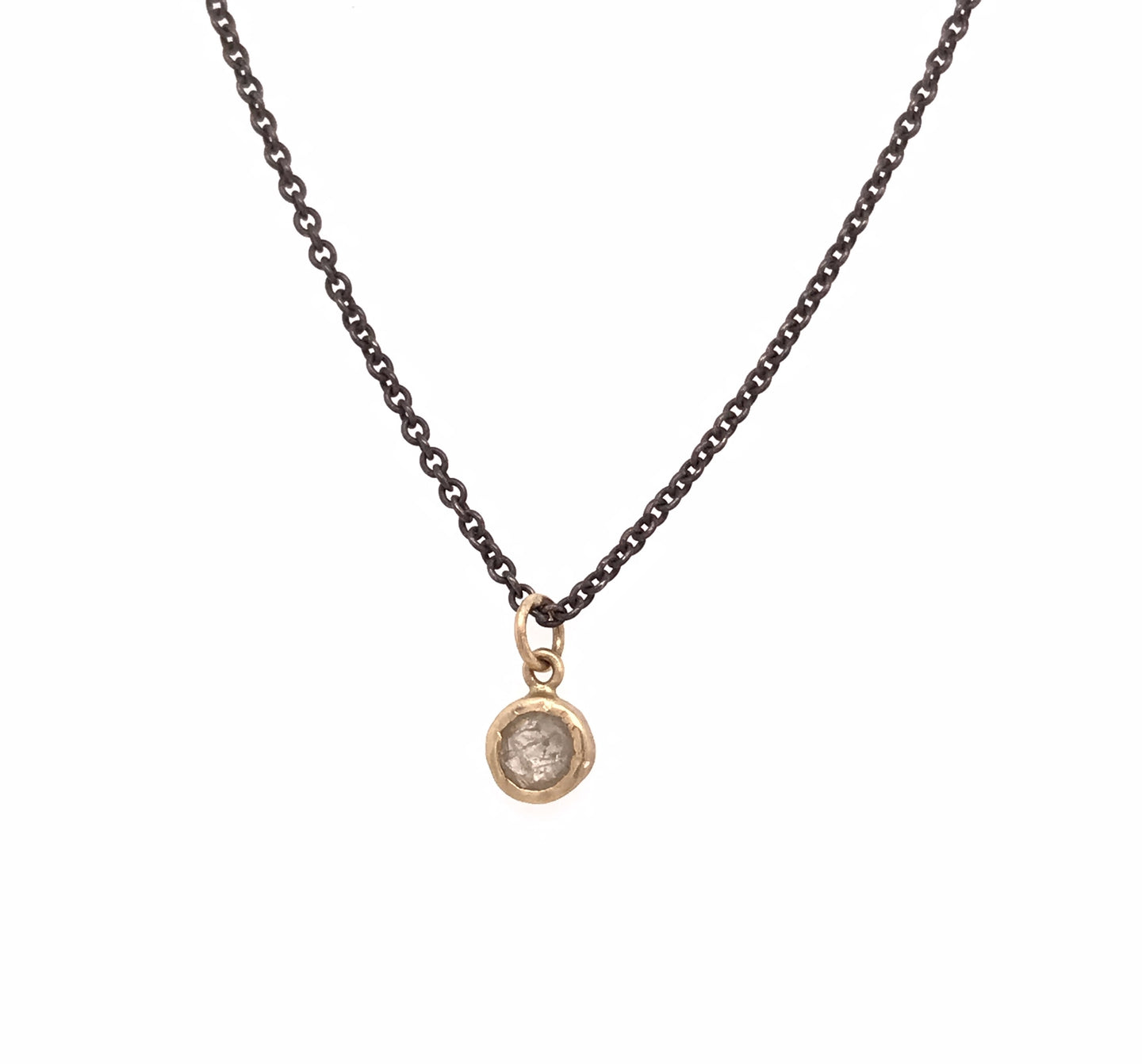 Rose Cut Round Diamond Pebble Necklace