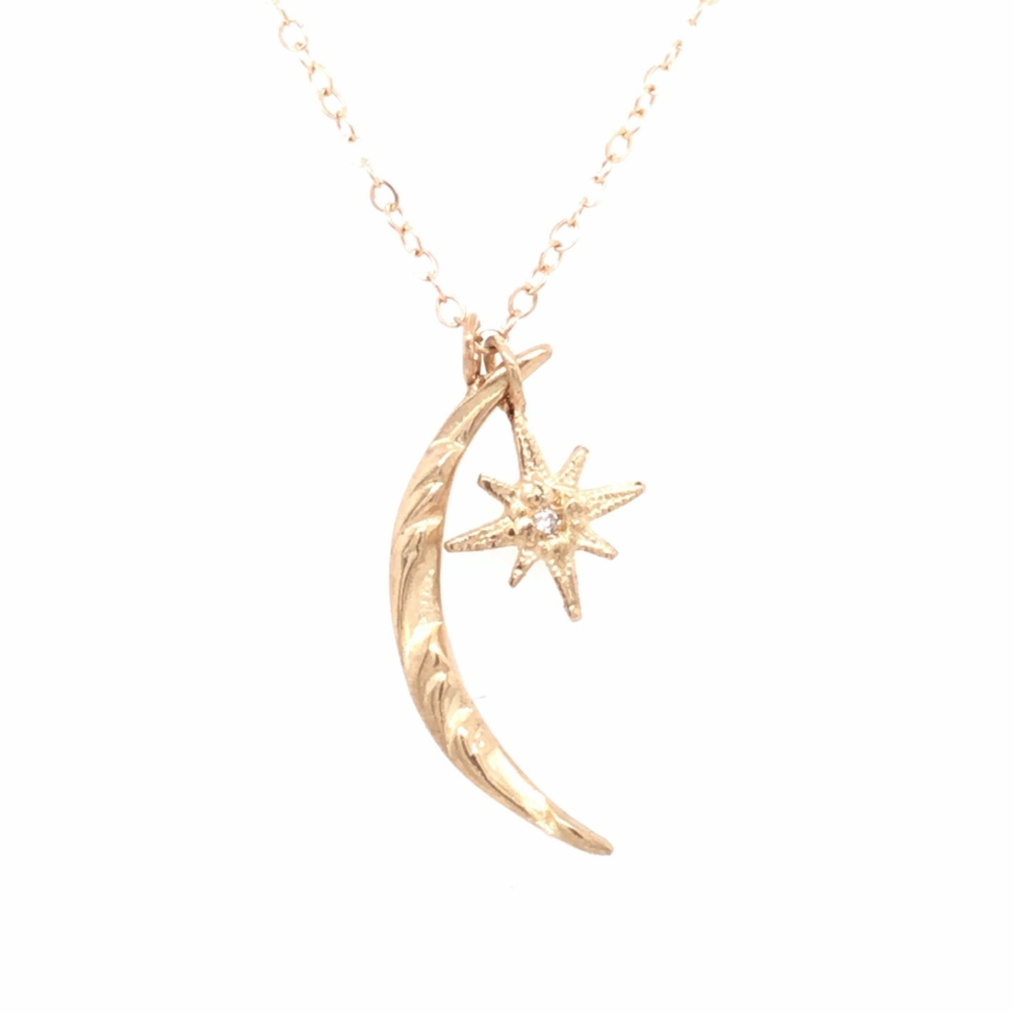 Gratitude Moon and Star Diamond Necklace