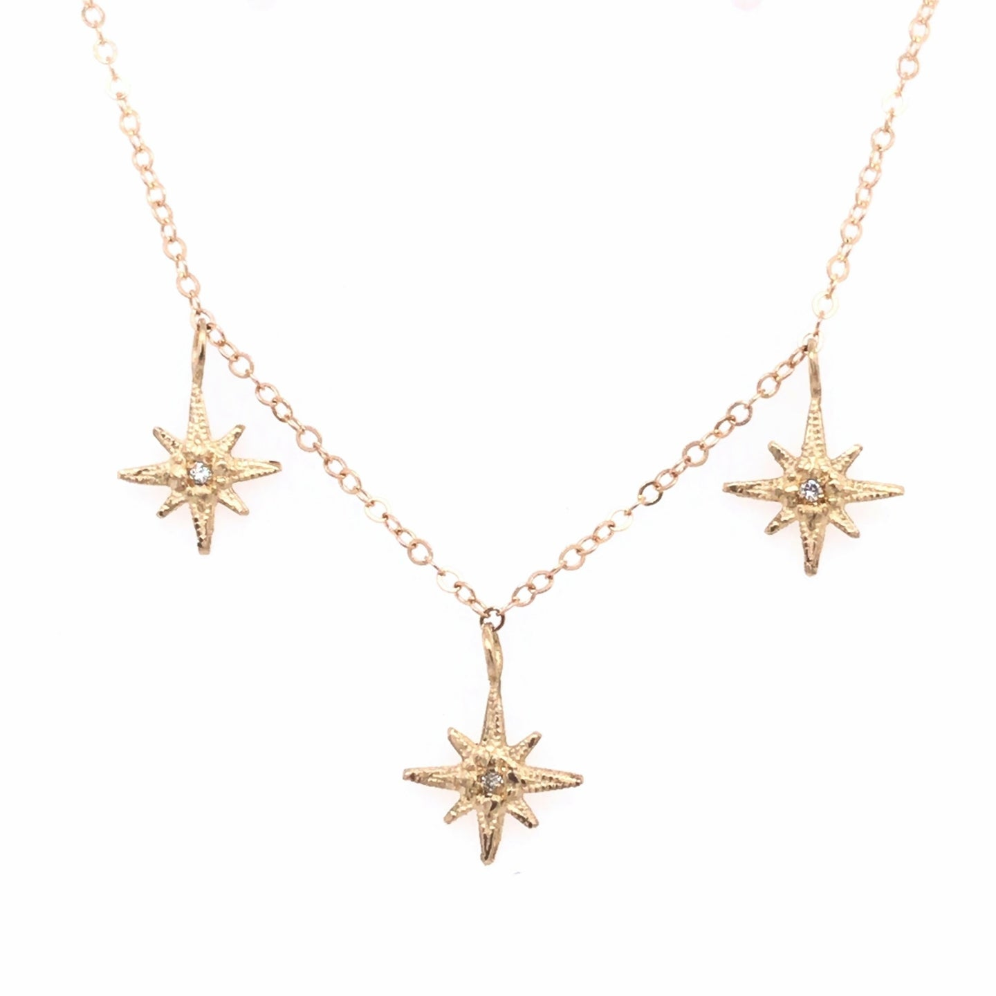 Triple Gratitude Star Diamond Necklace