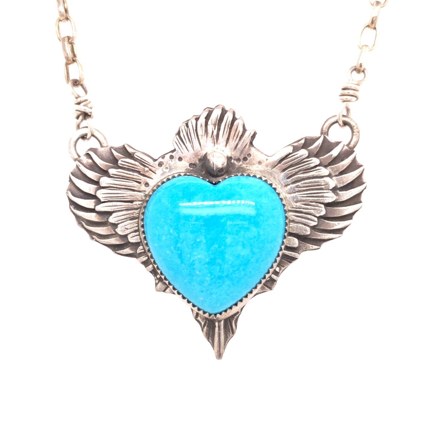 Sacred Heart Turquoise Pendant Necklace