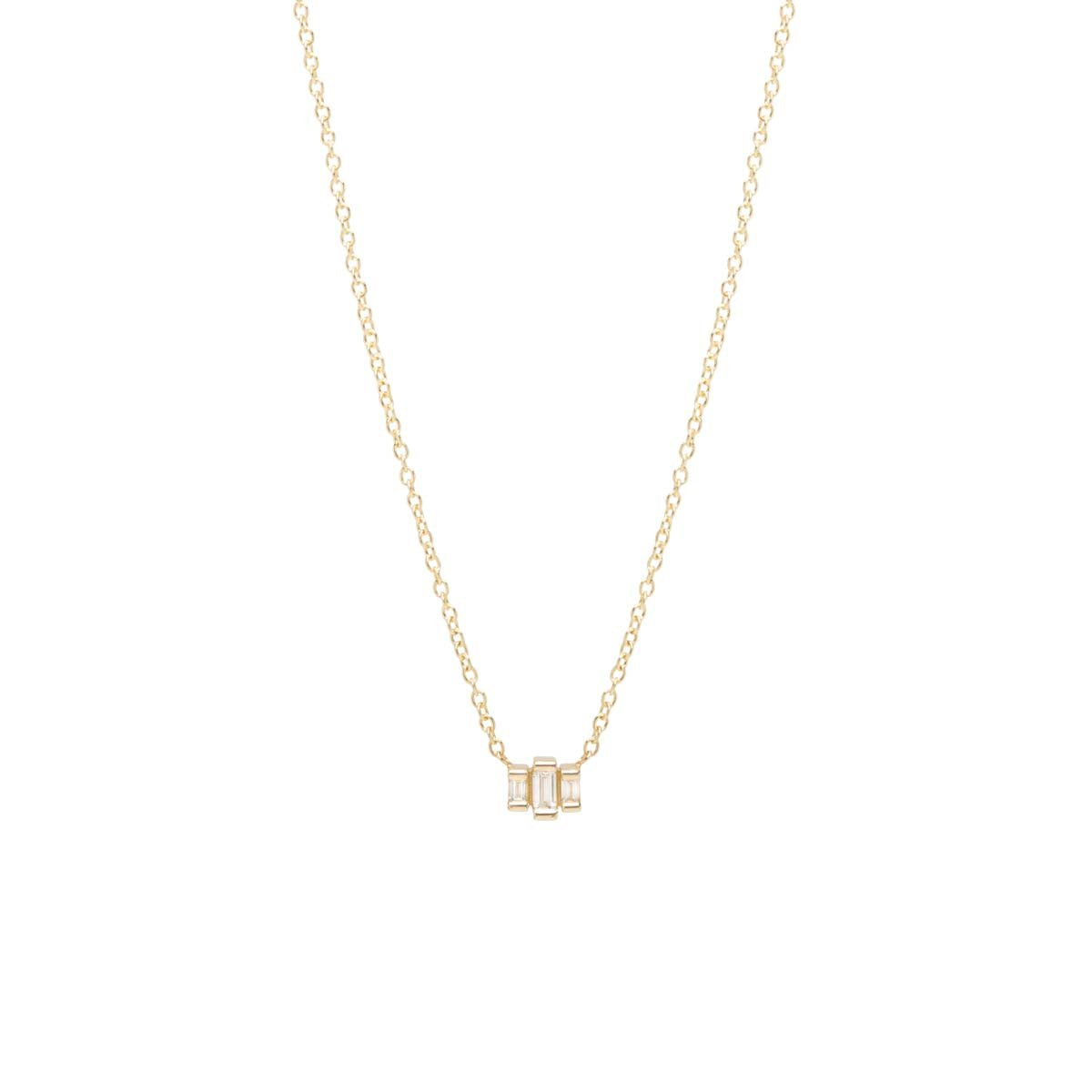 Small Three Step Baguette Diamond Necklace