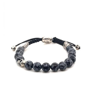 Sterling and Obsidian Skull Bracelet