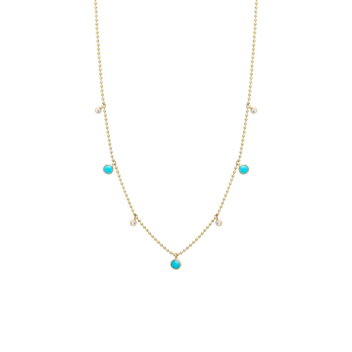 Turquoise and Diamond Dangle Necklace | Art + Soul Gallery