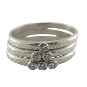 Weathered Three Diamond Stacking Ring