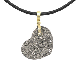 Platinum Coated Druzy Heart