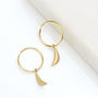 Load image into Gallery viewer, Sleeper Hoop Earrings with Mini Crescent
