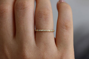 Engraved Geometric Diamond Eternity Band