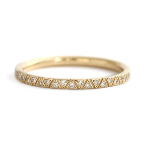 Engraved Geometric Diamond Eternity Band | Art + Soul Gallery