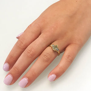 Three Stone Pear and Oval Diamond Ring