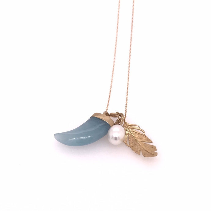 Aquamarine, Pearl and Feather Scavenger Necklace | Art + Soul Gallery