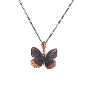 Rose Gold Accented Baby Asterope Butterfly Pendant | Art + Soul Gallery