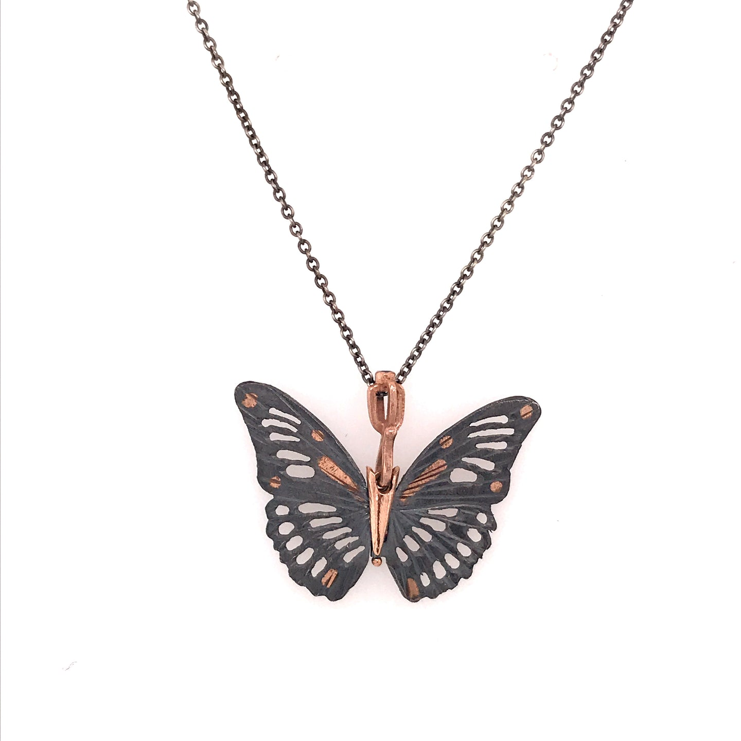 Sterling and Rose Gold Monarch Butterfly Pendant | Art + Soul Gallery
