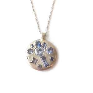 White Gold Mixed Cut Sapphire (Pendant Only)