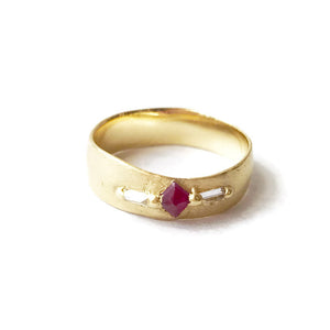 Ruby and Diamond Pinched Band