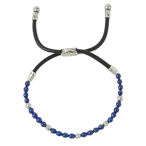 Distressed Sterling Silver and Lapis Braided Bracelet
