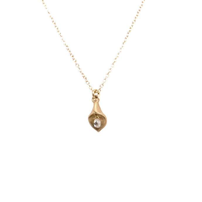 Calla Lily Necklace with Diamond Briolette | Art + Soul Gallery