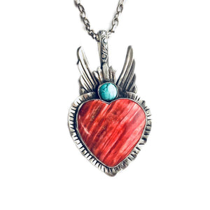 Wings Of Love With Spiny Oyster Necklace