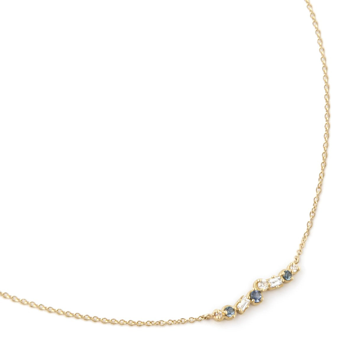 Cascade Diamond and Blue Sapphire Bar Necklace