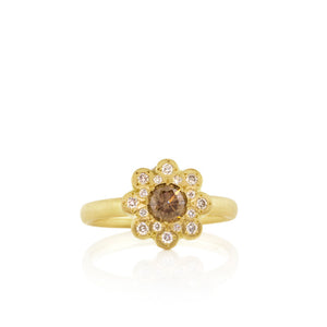 Cognac Diamond Moonflower Ring | Art + Soul Gallery