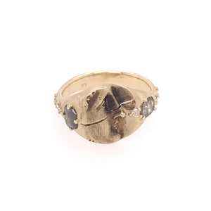 Rose Cut Diamond Fractured Profile Ring