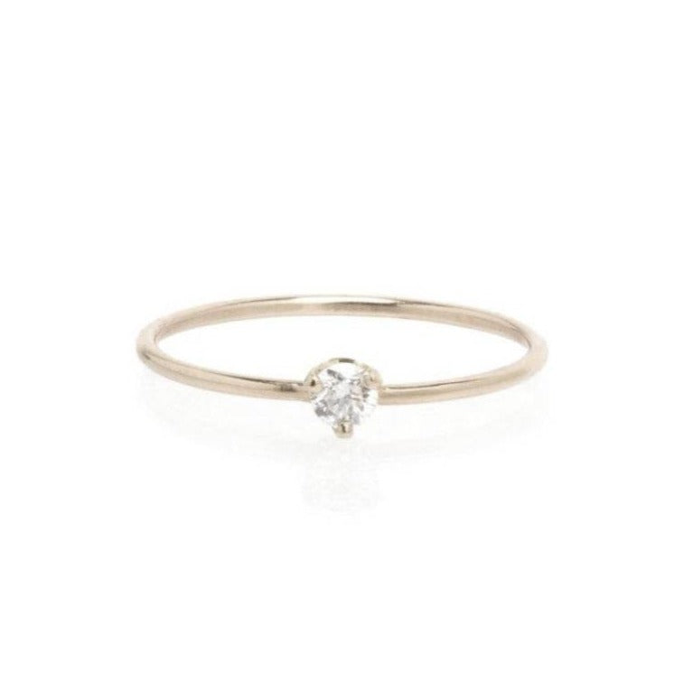 Single Diamond Prong Ring