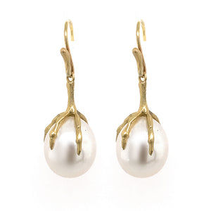 Pearl Egg and Claw Earrings