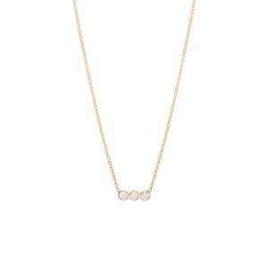 Tiny Three Bezel Diamond Necklace