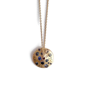 Blue Sapphire Spinning Disc Necklace | Art + Soul Gallery