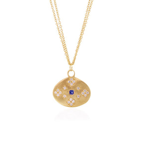 Moon and Stars Pendant with Sapphire | Art + Soul Gallery