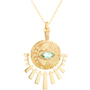 Load image into Gallery viewer, Light Green Marquise Tourmaline and Diamond Sunbeam Medal Nekclace