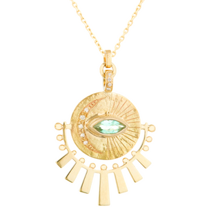 Light Green Marquise Tourmaline and Diamond Sunbeam Medal Nekclace