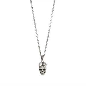 Distressed Silver Skull Pendant Necklace