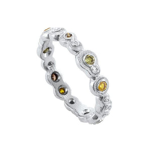 'Submarine' Platinum and Natural Color Diamond Band | Art + Soul Gallery