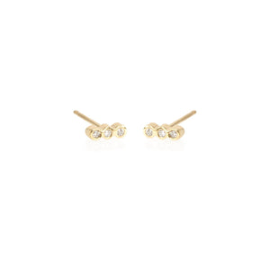14K Tiny Three Bezel Diamond Bar Single Earring | Art + Soul Gallery