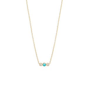 Turquoise and Diamond Bezel Necklace | Art + Soul Gallery