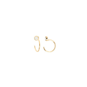 Tiny Open Hoop Earrings with Opal