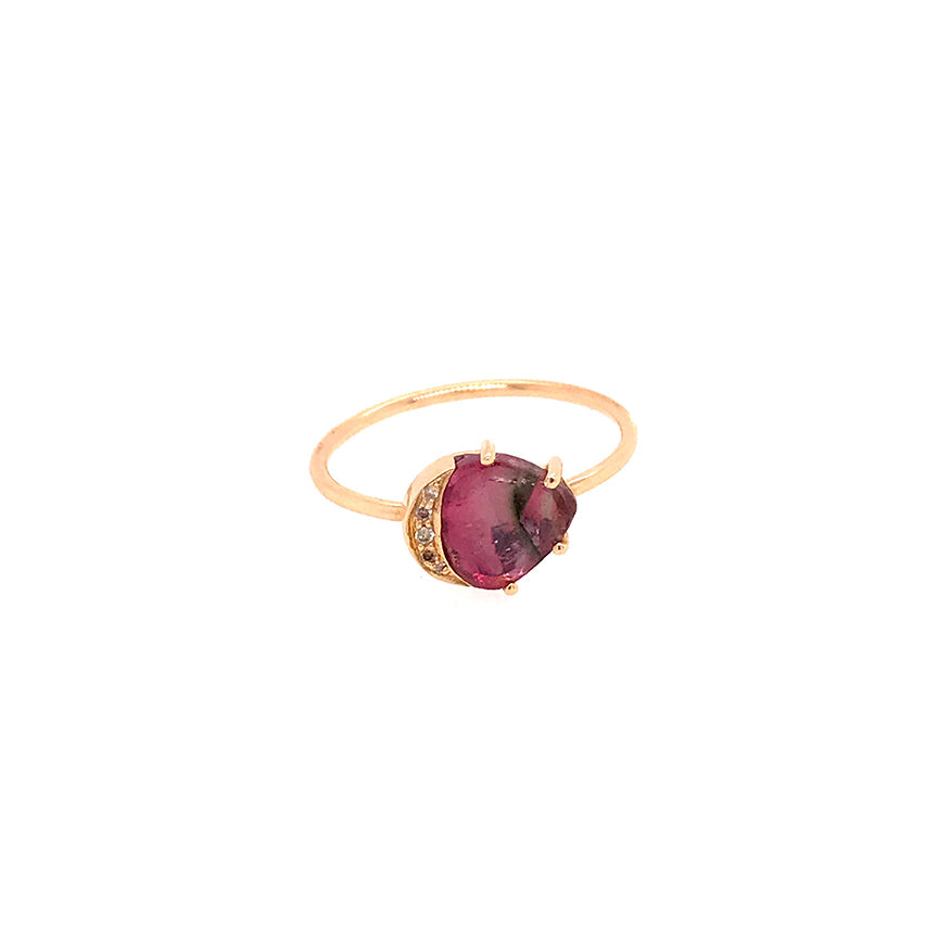 Watermelon Tourmaline and Moon Ring
