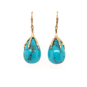 Turquoise Egg and Claw Earrings