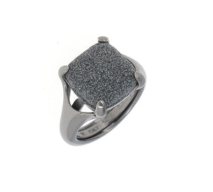 "Square Cut ""Polvere"" Ruthenium Plated Sterling Silver Ring 